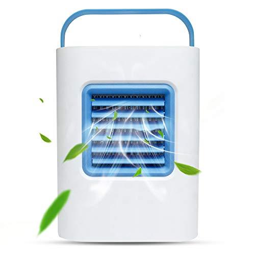 Ventilador portátil de aire acondicionado personal, humidificador y purificador de escritorio, con luz nocturna LED para oficina, hogar, camping, pesca, cocina, etc.