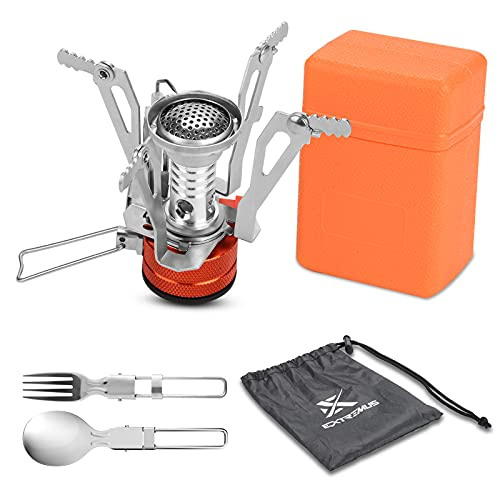 Extremus Portable Camping Stove, Backpacking Stove, Compact Wind Resistant Camping Stove for Backpacking, Hiking, Camping, and Tailgating, Ultralight
