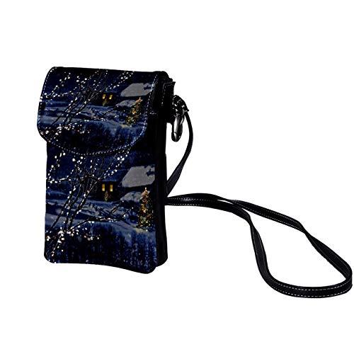 TIZORAX Snowy Winter Night Cabin Landscape Small Crossbody Bag Cell Phone Purse Wallet for Women Girls