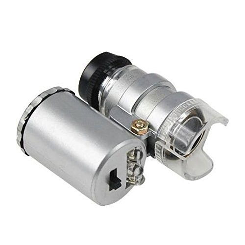 NIEGIENNA-60X Pocket Microscope Jeweler Magnifier Loupe Mini Illuminated Jeweler LED UV Lens Loupe