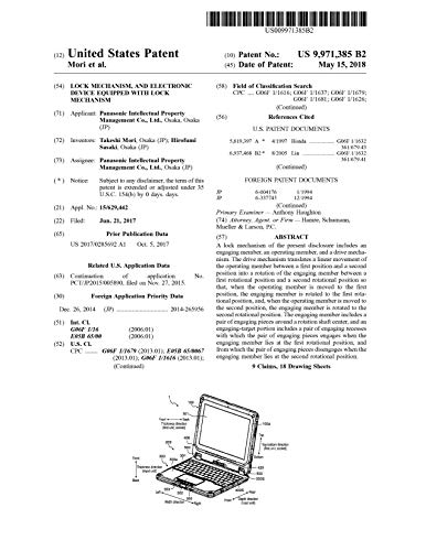 Lock mechanism, and electronic device equipped with lock mechanism: United States Patent 9971385 (English Edition)