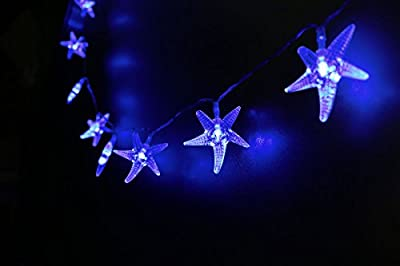 Mini Skater 2M 20 Led Warm White Starfish Shape Battery Operated Beach Style Decorative Lighting String Lights Set for Beach Party,Porch,Patio, Home Decorations.