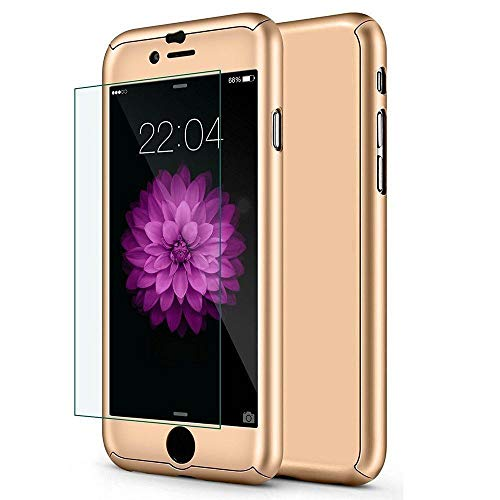 iPhone 6 Plus / 6s Plus Case,I3C 5.5 Inch Full Body Hard Case-Auroralove 360 Degree Full Protective Cover with Tempered Glass Screen Protector (Gold)