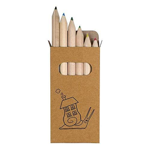 Azeeda 6 x 'Schneckenhaus' Kurze 85mm Bleistifte / farbige Bleistift Set (PE00014287)
