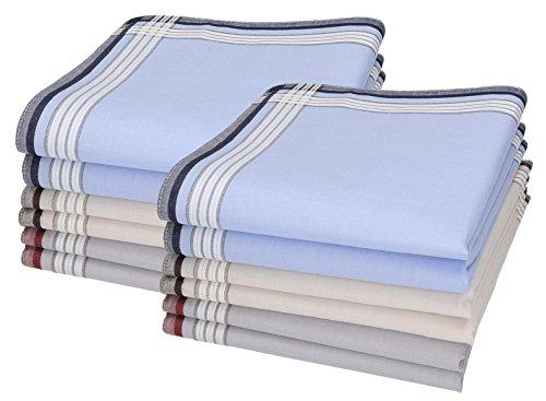 Betz 12 Stück Herren Stoff Taschentücher Set Leo 4 100% Baumwolle Größe 40x40 cm Farbe Dessin 02