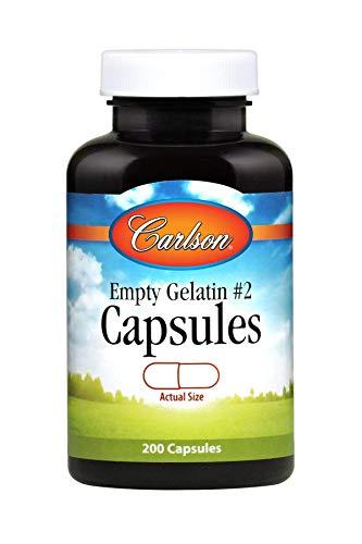 Carlson - Empty Gelatin #2 Capsules, Size #2, Empty Gelatin Capsules, Easy to Separate & Fill, Empty Capsules, Gel Caps, 200 Capsules