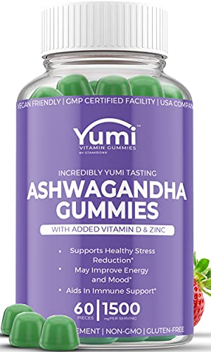 Ashwagandha Gummies Supplements w/ Zinc Vitamin D for Stress Relief, Adrenal Health, Mood Enhancer & Thyroid Support Compare to Capsules Tablets Pills Liquid - 60 Plant Based Vegan Gummy Vitamins