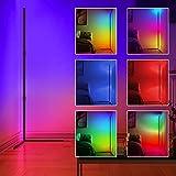 Lampara pie Led - JFIEEI 16 millones de colores RGB Lámpara Moderna, lampara de pie led regulable con control remoto para lampara de pie salon moderna, dormitorios (Base en ángulo recto)