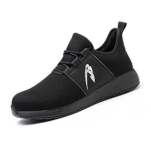 Aingrirn Zapatos de Seguridad Hombre Mujer, Punta de Acero Zapatillas de Trabajo Respirable Antideslizante Construcción Zapatos (Color : Black, Size : 42 EU)