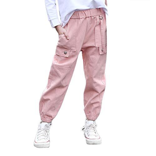 Agoky Mädchen Jungen Lange Hosen Loose Fit Jogginghose Kinder Sporthose Trainingshose mit Gummizug Bündchen Cargo Freizeithose Pink I 152-164