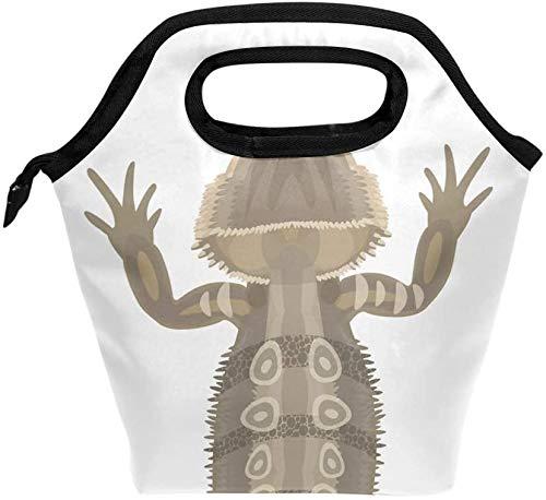 Bolsa de almuerzo con estampado de dragón barbudo y reptil - Fiambrera reutilizable aislada, Fiambrera térmica más fría para la oficina de trabajo de la escuela