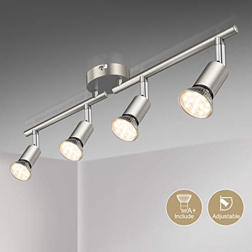 Defurhome LED Deckenleuchte Drehbar, 4 Flammig LED Strahler Deckenlampe Spot,Modern Deckenstrahler (Mattes Nickel) für Küche, Wohnzimmer, Schlafzimmer, inkl. 4 x 3.5W GU10 LED Lampen (380LM, warmweiß)