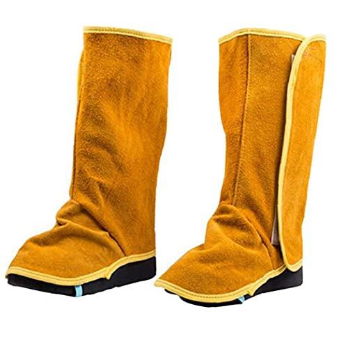 Sanfiyya Soldadura Polainas de Cuero de Vaca de Altas Prestaciones Cubiertas Zapato de Cuero Resistente a la Llama de Soldadura 1 par Spats