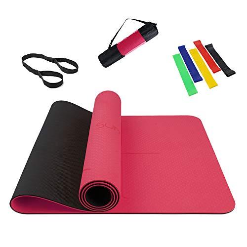 Esterilla Yoga Antideslizante Esterilla Pilates para Fitness y Entrenamiento - con Correa de Hombro, Línea Auxiliar y Bandas Elásticas Fitness/Bandas de Resistencia 183 x 61 x 0.6cm Black/Red