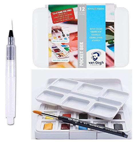 Estuche Pocket Box 12+3 Acuarela Van Gogh + 1 Pincel + Pincel de Reserva de Agua