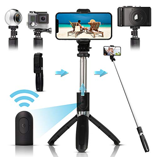 Arikaree® Bastone Selfie Stick Telecomando Bluetooth, Treppiede Regolabile, Asta Selfie Estensibile Ultra Leggera Smartphone iPhone, Samsung, Huawei, Macchine Fotografiche, GoPro (Nero)