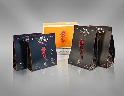 Peperoni Cruschi, la confezione completa: 2 confezioni Don Geppino da 25 grammi e 2 confezioni Don Gustavo da 100 grammi