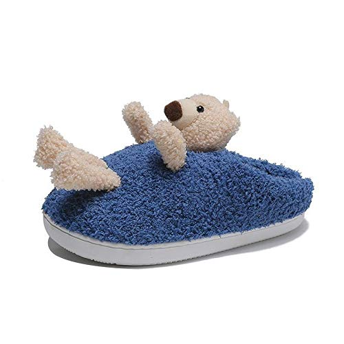 B/H Plush House Shoes w/Anti-Skid,Cute Cartoon Thick-Soled Women's Shoes, Lamb Wool Outer wear Cotton Drag-Blue_7,Women's Men's Memory Foam Slippers