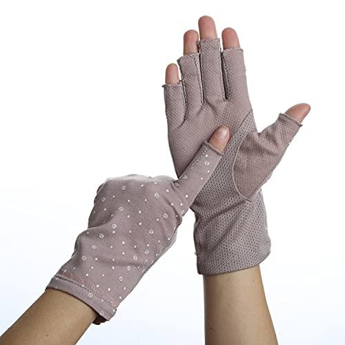 Guantes de Verano de algodón para Mujer, sin Dedos, Medio Dedo, Antideslizante, protección Solar, Guantes de conducción Cortos y Finos-75Purple