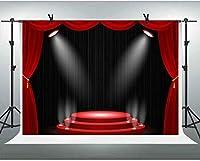 ZPCステージレッドカーペットカーテン懐中電灯背景7x5ftハリウッドアワードセレモニープレイショーシアターフォトスピーチレクチャーコミュニティアクティビティの背景スタジオ小道具GEEV477