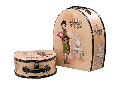 aubaho 2X Koffer Beautycase Dame Box Truhe Kofferset Kosmetikbox Holz antik Stil