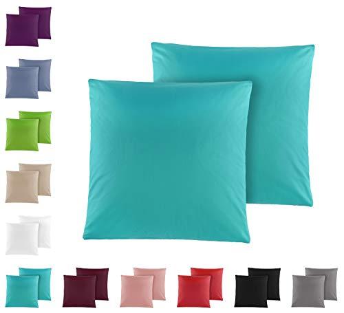 Doppelpack Baumwolle Renforcé Kissenbezug, Kissenbezüge, Kissenhüllen 80x80 cm in vielen modernen Farben Petrol