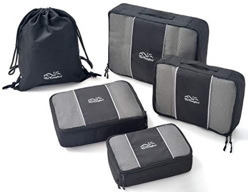 Extrem strapazierfähiges Packtaschen-Set | ideal für Koffer und Rucksack Schwarz, Set (S,2xM,L + Stringbag)