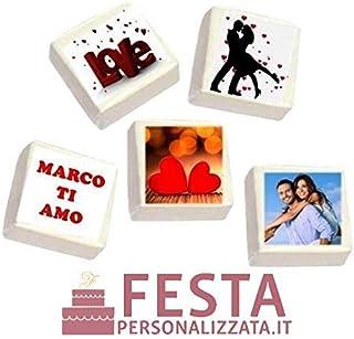MarshMallow personalizzato al 100% per compleanni, anniversari, matrimoni e lieti eventi da 4x4 cm cad. senza glutine da 50pz