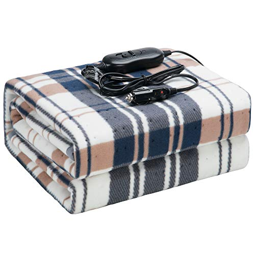 CAR AND DRIVER 12V(8A,45W) Washable Electric Heated Car Travel Blanket for Car, Truck, Boats or RV for Cold Weather,Flannel Heated Intelligent Blanket with Intelligent Hi/M/Lo Temp(Blue)