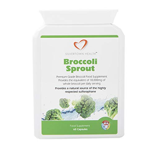 Silvertown Health Pure Broccoli Sprout - 60 Capsules * Supplies per Daily Serving - Broccoli Extract Equivalent to 18,000mg of Whole Broccoli Powder & Sulforaphane 6mg.