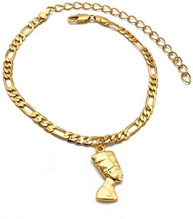 Egyptian Queen Nefertiti Anklet For Women Men Girls Foot Chain Jewelry Gold Color Jewellery African Gift