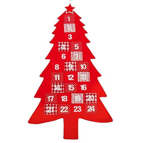 Dibor - Calendario de adviento Tradicional de Tela roja con Cuenta atrás para árbol de Navidad con Bolsillos para Rellenar