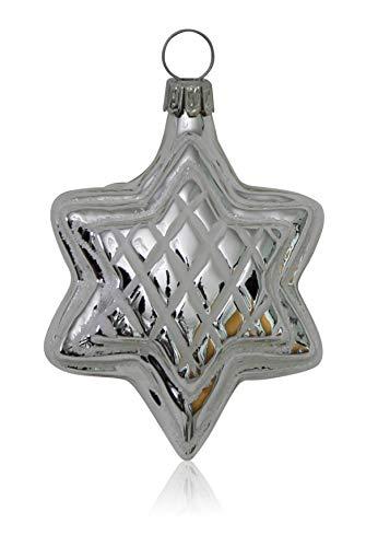 Lauschaer Glas Sterne silber mit Dekor 4 Stück Christbaumschmuck Weihnachtsbaumschmuck mundgeblasen handdekoriert
