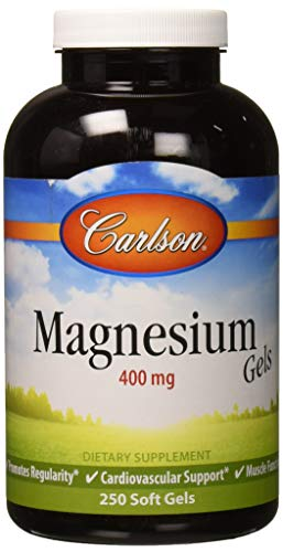 Carlson - Magnesium Gels, 400 mg of Magnesium per Softgel, Heart & Muscle Support, Magnesium Gel Caps, Bowel Function, Magnesium Supplement, 250 Softgels