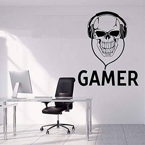 yiyitop Gamer Wall Sticker Skull Wall Decal Videojuego Juego de Sala de Juegos decoración Boy Room Decal Controlador Video Game Kid A1 34 * 42cm