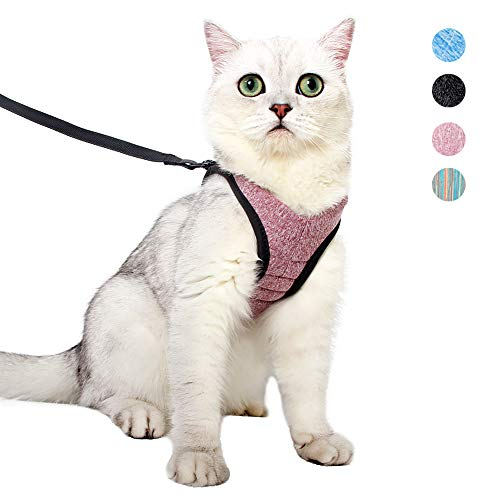 Heywean Cat Harness and Leash – Ultra Light Escape Proof Kitten Collar Cat Walking Jacket with Running Cushioning Soft…