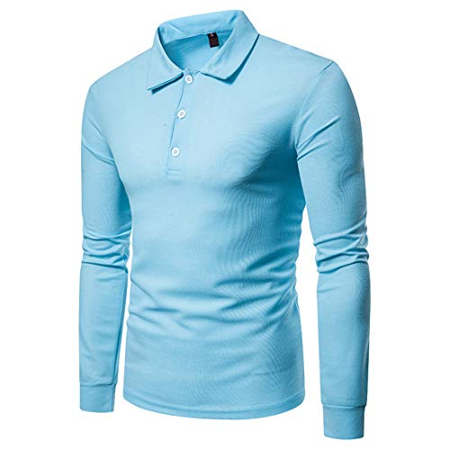 BEIXUNDIANZI Polo Shirt Men's Casual Fashion Lapel Button Long Sleeve Polo Shirt Spring and Autumn New Solid Color Simple Business Casual Movement Men's Polo Shirt S