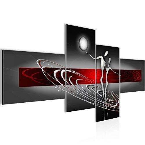 Bilder Abstrakt Figuren Wandbild 200 x 100 cm Vlies - Leinwand Bild XXL Format Wandbilder Wohnzimmer Wohnung Deko Kunstdrucke Rot Grau 4 Teilig - MADE IN GERMANY - Fertig zum Aufhängen 301241a