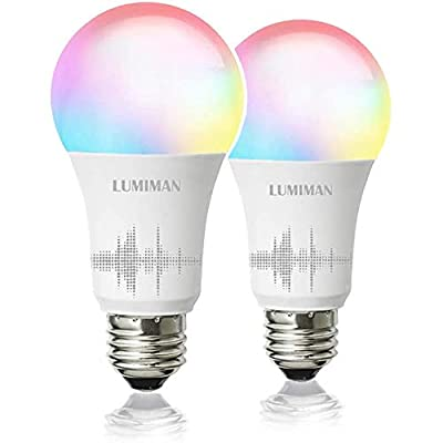 Smart WiFi Light Bulb, LED RGBCW Color Changing, Compatible with Alexa and Google Home Assistant, No Hub Required, A19 E26 Multicolor LUMIMAN 2 Pack