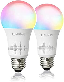 2-Pack Lumiman Smart WiFi Light Bulb LED RGBCW Color Changing