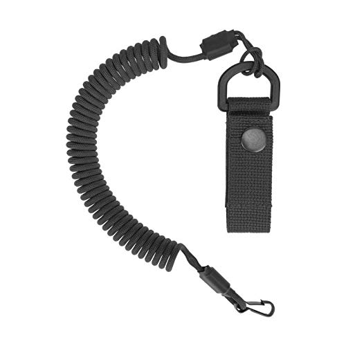 EDCX Paracord Tactical Lanyard with a Belt Attachment, Spiral-Kabel, elastischer Schlüssel-Anhänger aus Paracord (Black)