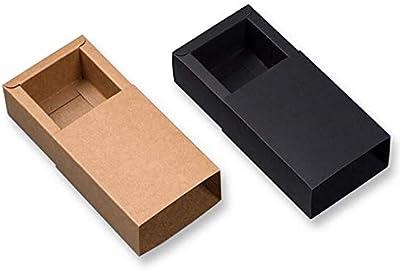 XLPD 6 Sizes 10Pcs Large Black Kraft Paper Gift Box Small Kraft Cardboard Drawer Box Large