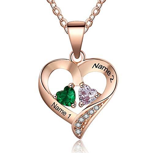 Grand Made 2 Namen Damen Kette mit Herz Anhänger Stimulierter 2 Geburtsstein mit Ihr Namen 925 Sterling Silber vergoldet Geschenk für Damen (Rose Gold, Silber)