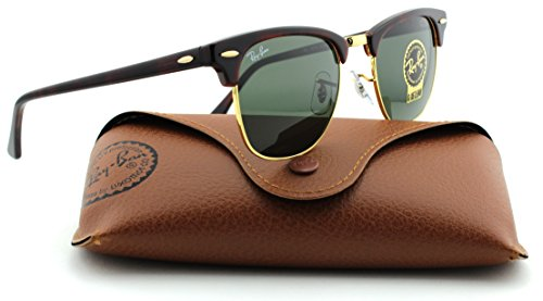 Ray-Ban RB3016 Clubmaster Tortoise Arista Frame/Crystal Green Lens W0366, 49mm