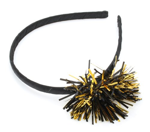 Christmas Black Satin Alice Band + Black & Gold Tinsel Hair Accessories by Zest by Zest