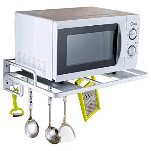 JJJJD Küchenregal, Wand-Aluminium-Mikrowelle Racks, Küche Supplies Regale mit Haken, Ofen Racks (größe : Single Row Hook)