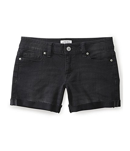 Aeropostale Womens Boyfriend Casual Denim Shorts, Black, 00