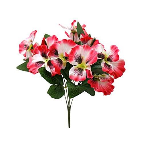 XINGTAO Flores Artificiales Nuevo 1 unid Artificial Flor Pansy Garden DIY Etapa Partido Inicio Boda Artesanía Decoración de la decoración de la Sala de Estar de Verano (Color : Rose Red)