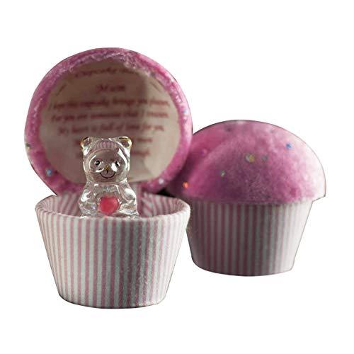 Caja en forma de cupcake con osito de peluche de cristal y poema dentro de la tapa, regalo para el Día de la Madre