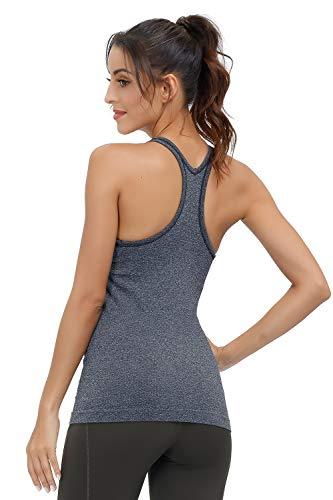 Disbest Yoga Tank Tops Sport Tank Top Damen Ärmellosen Tops Sport Shirt Damen für Ladies Workout Tops Schnelltrocknend mit BH (Schwarz, M)